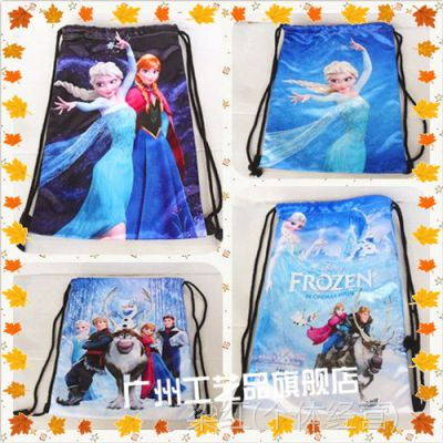 frozen 卡通冰雪公主时尚双面绸布印刷束口抽绳袋书包