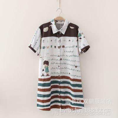 04309日系森林系报纸印花拼接小翻领短袖长款衬衫连衣裙