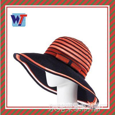 帽子夏天 高档拉菲草编帽 大沿帽欧美手钩拉菲草帽遮阳帽外贸出口