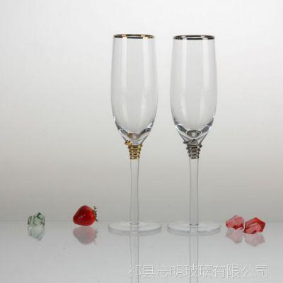 厂家销售高白料 电炉品质 描金 时尚清秀香槟杯  居家酒店用品