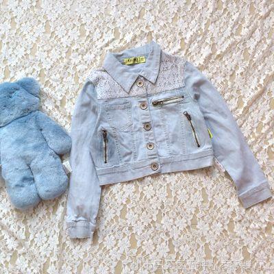 优质 韩版 蕾丝拼接 短装 百搭 女童夹克 牛仔外套