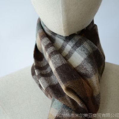 100%羊毛男士经典格纹四款4果绿酒红玫红黑外贸围巾
