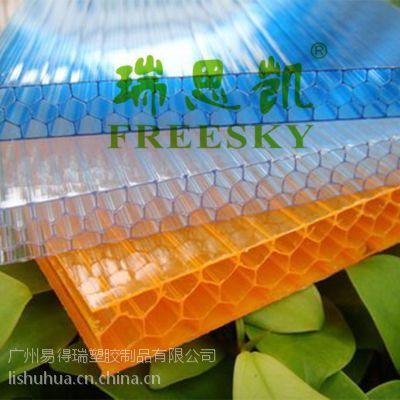 供应瑞思凯透明pc塑料蜂窝阳光板 温室大棚 保温防雾顶棚材料蜂窝板