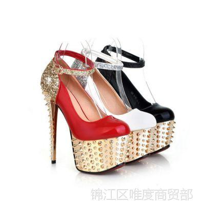 欧美风女鞋2015新款单鞋百搭瘦脚高跟鞋防水台夜店潮流聚会鞋
