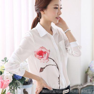 2015春季新款韩版白色衬衫女修身显瘦印花雪纺长袖打底百搭衬衫