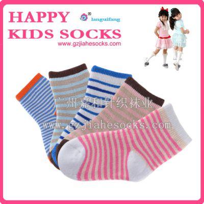 广东织袜厂供应无骨接缝条纹提花纯棉童袜