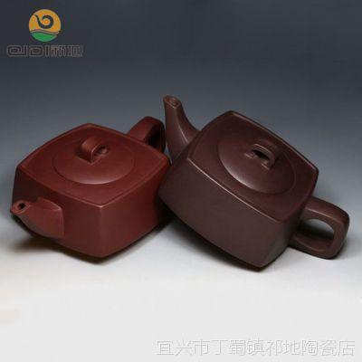 宜兴原矿紫砂壶全手工正品功夫茶具厂家批发 两色天圆地方四方壶