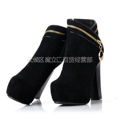 供应女士短靴 反牛皮真皮时尚粗跟短靴性感超高跟靴防水台女士靴子