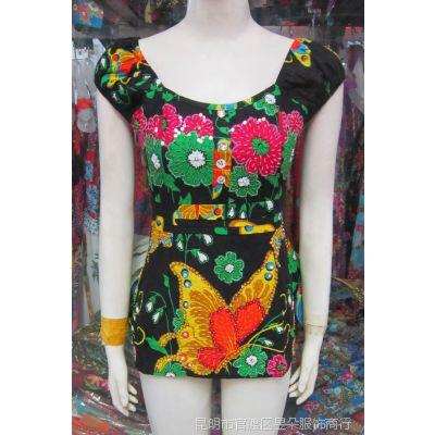 昱朵服饰 民族风吊带 波西米亚手工钉珠 泰国服装 绣珠吊带167