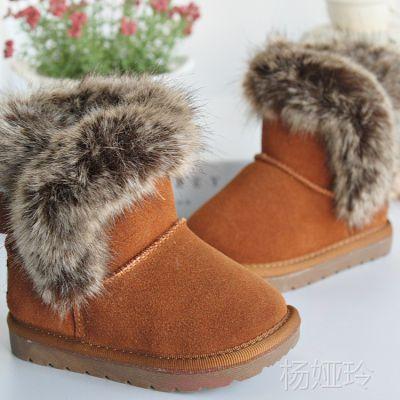 2014冬季新款 男童女童靴子批发 韩版真皮儿童雪地靴 低筒棉靴