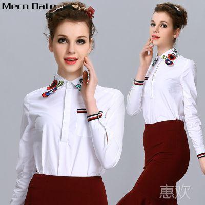 大码白色衬衫女 2015欧洲站缪可新款娃娃领不规则衬衫  MK C3021