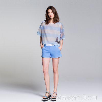 I'M PRINCESS撞色短袖A87字母圆领条纹雪纺衫女式上衣2015春新