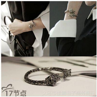 韩国进口代购配饰品女韩版时尚夸张金属水钻欧美风豹子手镯手链