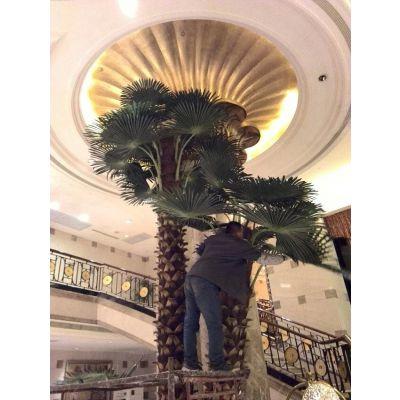 厂家批发高质量仿真老人葵 保鲜华盛顿棕榈树 室外装饰假棕榈树 酒店装饰假树