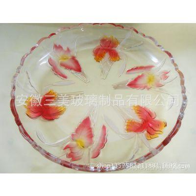 供应现货三美玻璃花卉大果盘 可喷色果盘 家居节庆用品