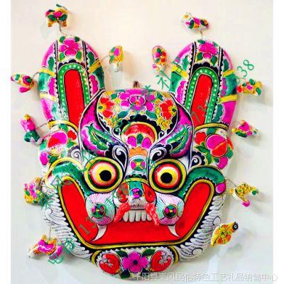 陕西民俗特色纯手工泥塑彩绘虎头挂饰工艺礼品专卖 收藏送友珍品