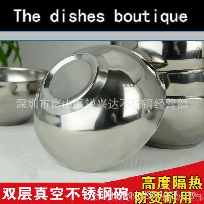 特价韩式双层隔热不锈钢碗 亮光面碗 防烫饭碗汤碗 儿童防摔碗
