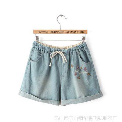 女装厂家货源 夏季新款小蜜蜂刺绣牛仔卷边短裤 爆款女裤子