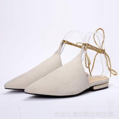 2015夏季新款欧美大牌同款绑腿凉鞋尖头平底鞋真皮时尚女鞋子批发
