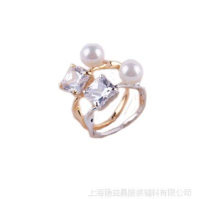 欧美大牌 18k金贝壳珍珠镶嵌锆石水晶个性时尚女士戒指饰品批发