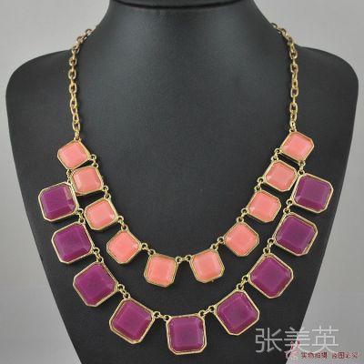 N1478淑女气质 多宝石项链 双层衣服挂链 饰品项链 结婚项链