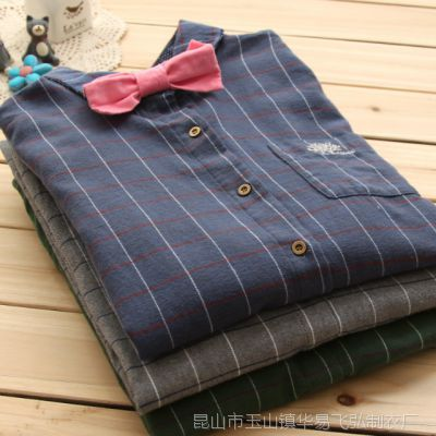口袋树刺绣 磨毛纯棉 蝴蝶结领结经典格子长袖女式衬衫