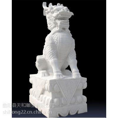 天和雕塑 曲阳石雕 精细四川料汉白玉麒麟雕塑