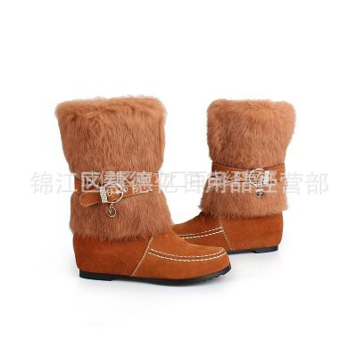供应真皮头层牛皮真兔毛冬季雪地靴短靴时尚平底粗跟雪地短靴一件代发