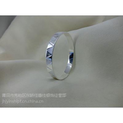 99纯银齐口几何纹千足银手镯JJSZ0160