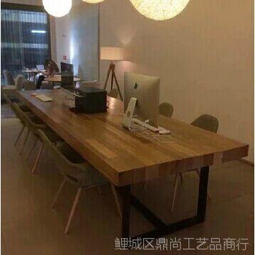 美式乡村北欧咖啡茶餐厅桌椅原木复古铁艺餐桌书桌实木家具会议桌