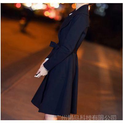 2016秋装新款韩版女式风衣长袖风衣连衣裙大衣女外套