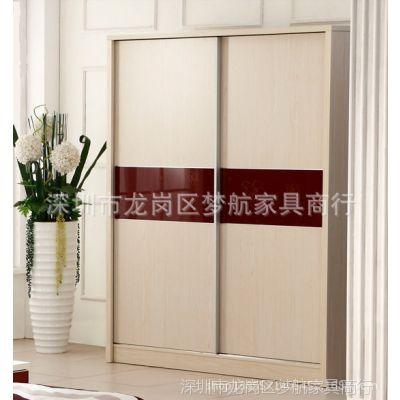 供应广州板式家具简易衣柜推拉门 吊滑移门可拆装衣柜移门整体衣柜