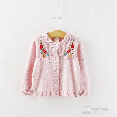 女童毛衣 绣花纯棉针织形衫 童装批发 3-5xy001
