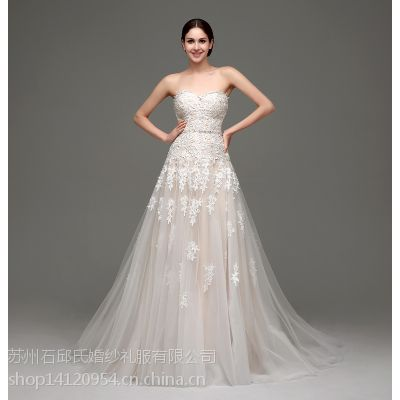 2015年春夏时尚白色优雅婚纱 无肩带婚纱礼服 舞会婚纱礼服批发 32238