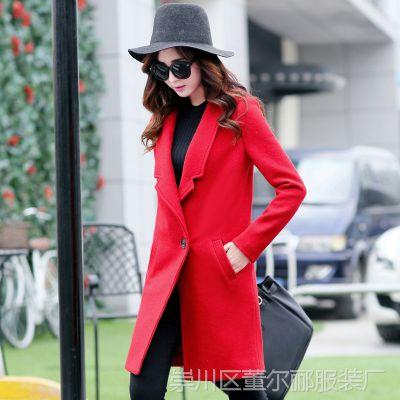 毛呢外套女春季新款韩版修身中长款气质纯色长袖风衣外套呢子大衣