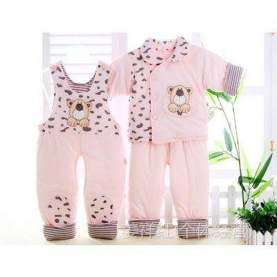 新款婴儿保暖棉袄套装 婴幼儿棉衣宝宝秋冬棉衣三件套外套 批发