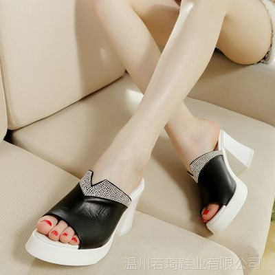 温州厂家特价清仓 水钻粗跟女式凉拖 防水台时尚一字拖鞋L701-2
