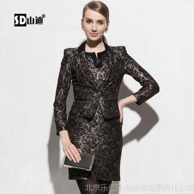 2014新款高端耸肩春装百搭蕾丝小西装连衣裙短外套长袖两件套韩版
