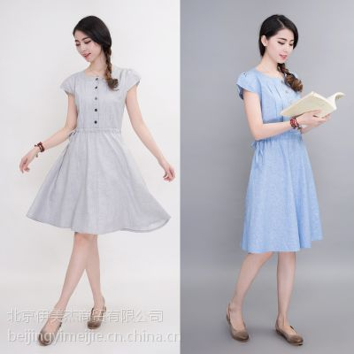 夏季新款韩版品牌女装宽松大码棉麻裙子纯色亚麻连衣裙中长A字裙