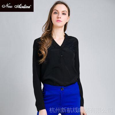 高端品牌2015新品首发纯色套头长袖衬衫女 欧美雪纺V字领宽松上衣