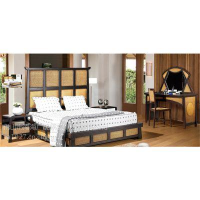 供应温州藤艺床成套家具、酒店藤床、卧室藤制床、藤家具厂家