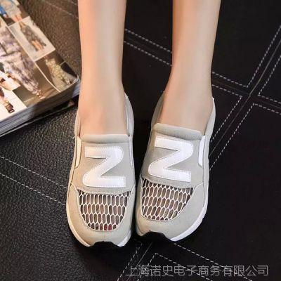 2015夏季韩版网纱透气浅口运动鞋Z型字母舒适套脚低跟单鞋