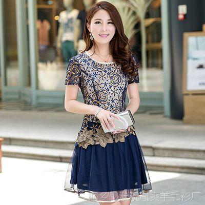 2015夏装韩版中年女装新款大码显瘦a字连衣裙中老年妈妈雪纺裙子