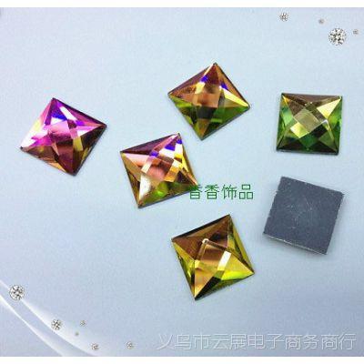 6~14MM 水晶钻正方形平底玻璃贴钻 diy服饰鞋包材料配件水钻批发