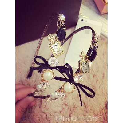 小香风香水瓶宝石珍珠水钻女人气质韩国新款2015发箍头箍