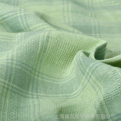 2014外贸订单价热销薄款棉麻亚麻布料窗帘服饰手工格子布料-绿