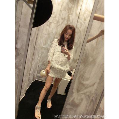 【钱夫人】CHINSTUDIO定制 高圆圆同款 白色七分袖羽毛连衣裙