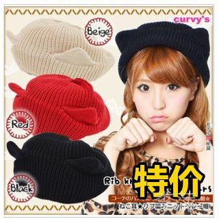 韩版成人帽秋冬女士百搭猫耳朵针织毛线帽牛角帽亲子帽