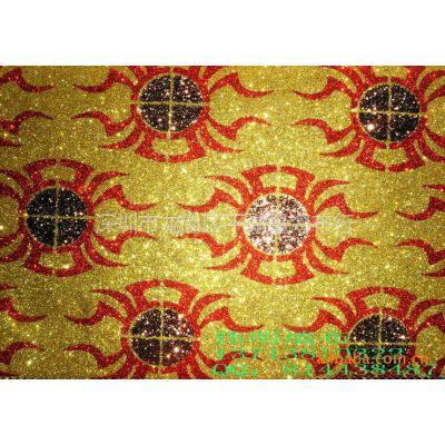 供应强烈推荐KTV装饰材料 软包 装饰皮革 反光格力特植绒大花