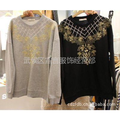 供应韩国进口女装新款金线刺绣女式T恤长袖打底衫 服装一手货源 2A35